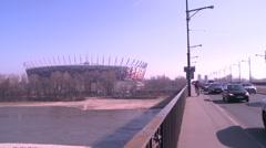 Polish National Stadium from Poniatowskiego bridge Stock Footage