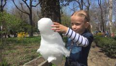 Child Eating Cotton Candy at Playgroud in Park, Happy Little Girl, Kid, Food Stock Footage