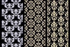 Set of 3 victorian seamless pattern Stock Illustration