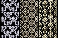 Stock Illustration of set of 3 victorian seamless pattern