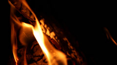 Flame, the fire in the fireplace. Close up - stock footage