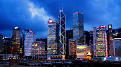 Stock Video Footage of 4K Hong Kong Sunset Cityscape Timelapse. Wide Shot.