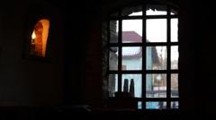 Old bar, saloon, window Stock Footage