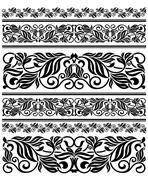 floral ornament elements and embellishments - stock illustration