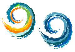 colourful ocean waves - stock illustration