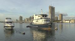 Docked boats at manila bay Stock Footage