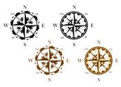 Stock Illustration of set of antique compasses