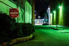 do not enter sign in a dark alley at night in hanover, pennsylvania. - stock photo