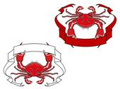 Stock Illustration of red crab with ribbon in claws