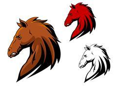 angry stallion mascot - stock illustration