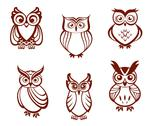 Stock Illustration of set of cartoon owls