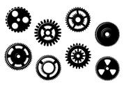 Stock Illustration of set of gears and pinions