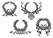 Stock Illustration of heraldic laurel wreaths with ribbons