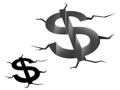 Crash of american dollar Stock Illustration
