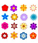Set of flower blossoms and petals Stock Illustration
