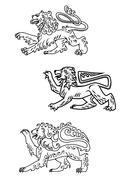 vintage healdic lions set - stock illustration