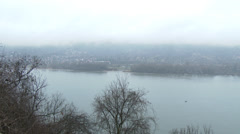 4K Danube Bend Foggy Winter Day Visegrad Hungary 4 pan Stock Footage