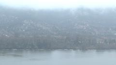 4K Danube Bend Foggy Winter Day Visegrad Hungary 6 Stock Footage