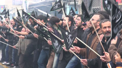 Iran procession Islam, muslim men take part in Ashura, religion in Middle East - stock footage