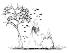 Witch stirring a potion in cauldron Stock Illustration