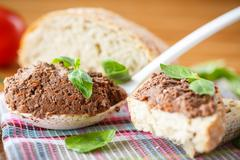 pate with bread - stock photo