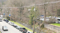 gatlinburg TN streamside traffic - stock footage