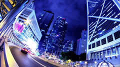 Hong Kong City Night Timelapse. 4K Zoom Out Shot. Stock Footage