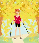 Nordic walking - active woman exercising outdoor Stock Illustration