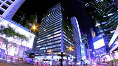 Central. Hong Kong City Night Timelapse. 4K Tight Zooming out Shot. Stock Footage