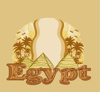 Stock Illustration of frame with pyramids giza