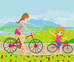 Stock Illustration of mother and daughter biking in the park