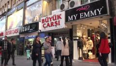 Busy shopping street in Ankara, capital city of Turkey Stock Footage