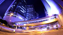 Hong Kong City Night Timelapse. 4K Tight Zooming out Shot. Stock Footage