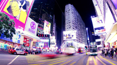 Causeway Bay Crossing. Hong Kong Night Timelapse. 4K Zooming out shot. Stock Footage