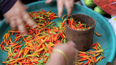 Fresh chillis being bagged and sold in market Stock Footage