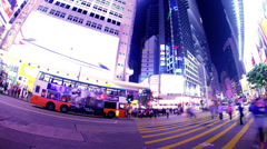 Causeway Bay Crossing. Hong Kong Night Timelapse. 4K Tight Zooming out shot. Stock Footage