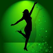 Dancing Girl And Falling Stars Stock Illustration