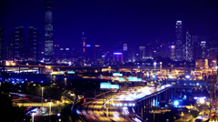 4K Containers Port Timescape at Night. Hong Kong. Wide Shot. - stock footage