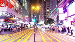 Tsim Sha Tsui. Hong Kong Night Timelapse. 4K Tight Zooming out shot. Stock Footage