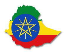 Map and flag of Ethiopia Stock Illustration