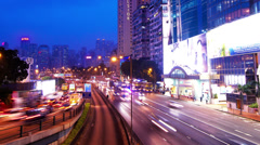 City Rush Hour Timelapse. Causeway Bay of Hong Kong. 4K Wide Zoom Out Shot. Stock Footage