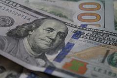 Close-up New American Benjamins - stock photo