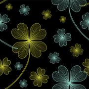 Seamless pattern with four leaf lucky clovers Stock Illustration