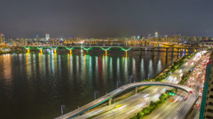 Seoul City 255 Highway Bridge Traffic Stock Footage