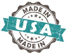 Made in usa turquoise grunge seal isolated on white background Stock Illustration