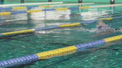 Professional Swimmer Performing The Front Crawl Stock Footage