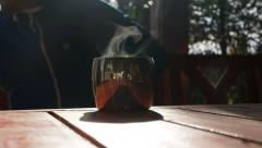 Teacup with steam (time lapse) - stock footage