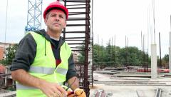 Worker at Construction Site Stock Footage