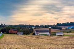 farm in rural lancaster county, pennsylvania. - stock photo
