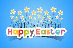 Happy Easter Card With Spring Flowers - stock illustration